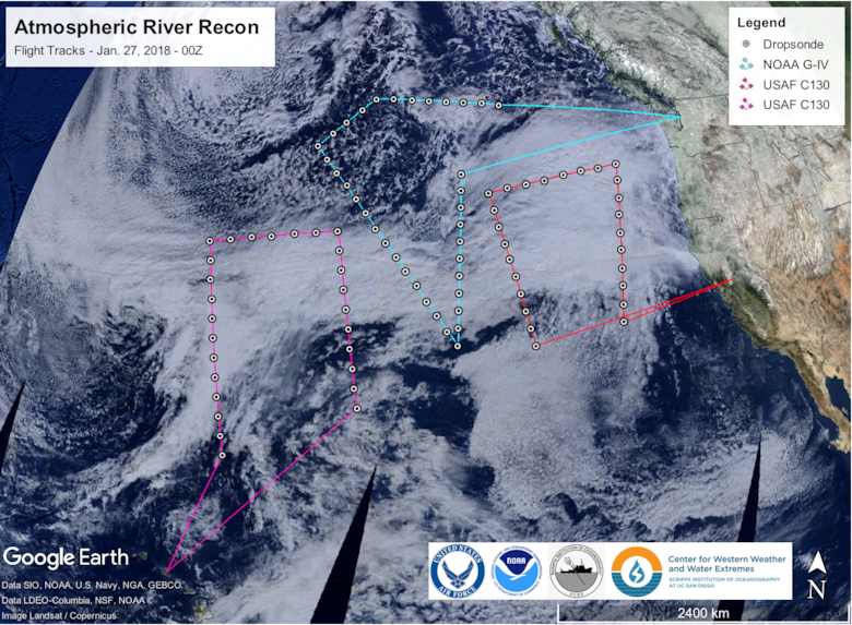 This graphic depicts the different flight tracks of WC-130J Super Hercules and Gulfstream IV-SP aircraft during atmospheric river reconnaissance missions over the Pacific Ocean Jan. 27, 2018. (Courtesy graphic)