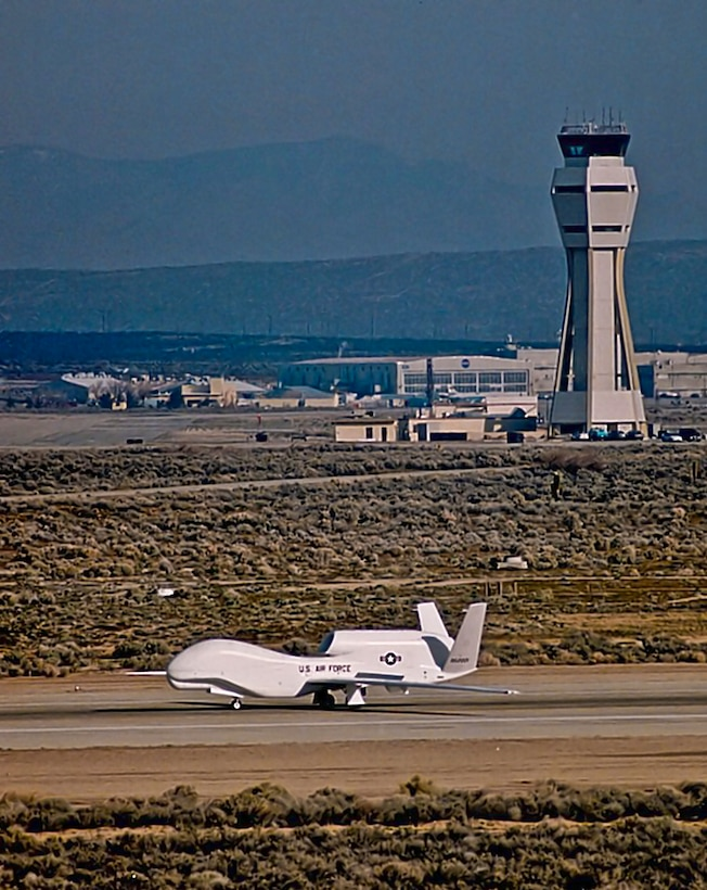 The first Global Hawk aircraft, named Air Vehicle 1, or AV-1,  taxies itself at Edwards Air Force Base Feb. 28, 1998. (Courtesy photo by Northrop Grumman)