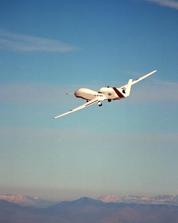 The first Global Hawk aircraft, named Air Vehicle 1, or AV-1,  taxies itself at Edwards Air Force Base Feb. 28, 1998. (Courtesy photo by Northrop Grumman)