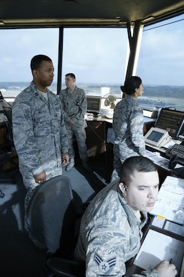Air traffic controllers who work inside the air control tower are responsible for all movement that takes place on Joint Base San Antonio-Kelly Field flight line.