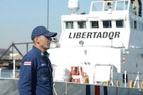 Image of Coast Guard transfer of a patrol boat to Costa Rican Coast Guard crew
