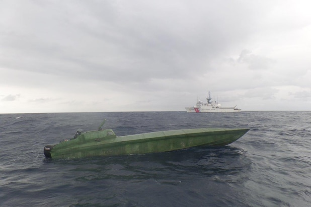 Image of U.S. Coast Guard interdiction of a drug trafficker