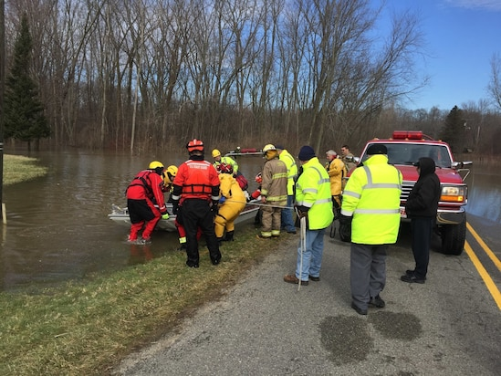 Image of U.S. Coast Guard flood response in Michigan