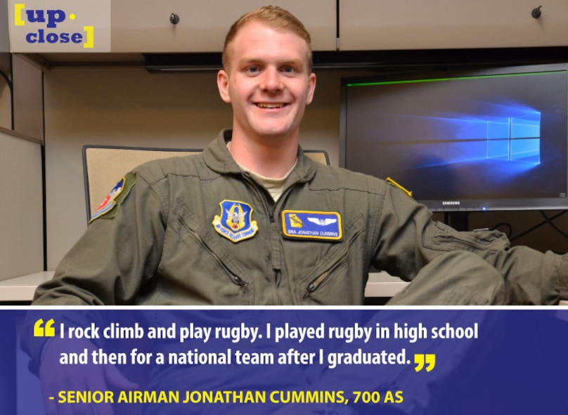 Senior Airman Jonathan Cummins, a 700th Airlift Squadron flight engineer, is this week's Up Close personality. Up Close is a weekly series spotlighting individuals around Dobbins Air Reserve Base. (U.S. Air Force graphic/Staff Sgt. Andrew Park; Photo/Senior Airman Lauren Douglas)