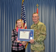 ALBUQUERQUE, N.M. – District commander Lt. Col. James Booth recognizes Jamie Howard, chief, Lakes and Assets Branch, as the District's Supervisor of the Year during the District's 2017 Annual Award Presentations, Dec. 8, 2017.