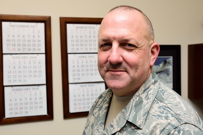 Chief Master Sgt. Monte Snyder, 403rd Maintenance Group maintenance operations superintendent and detailed as the wing process manager, poses for a photo December 19, 2017, at Keesler Air Force Base, Mississippi. On his path to becoming a chief master sergeant, Snyder attended public speaking conferences and personality assessment seminars to help him better understand himself and the people he works with, something he considers important to being an effective supervisor, leader and wingman. (U.S. Air Force photo by Tech. Sgt. Ryan Labadens)
