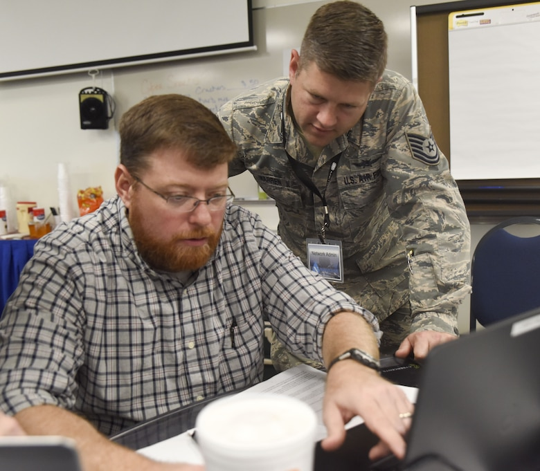 The three-day training course gave participants the opportunity to work within a simulated environment created specifically to assist cyber operators at IT managers with mitigating the risk of a cyber attack. (U.S. Air National Guard photo by Senior Airman Kayla K. Edwards)