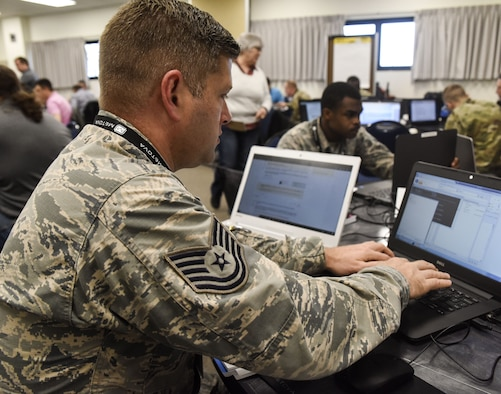 The three-day training course gave participants the opportunity to work within a simulated environment created specifically to assist cyber operators and IT managers with mitigating the risks of a cyber attack. (U.S. Air National Guard photo by Senior Airman Kayla K. Edwards)