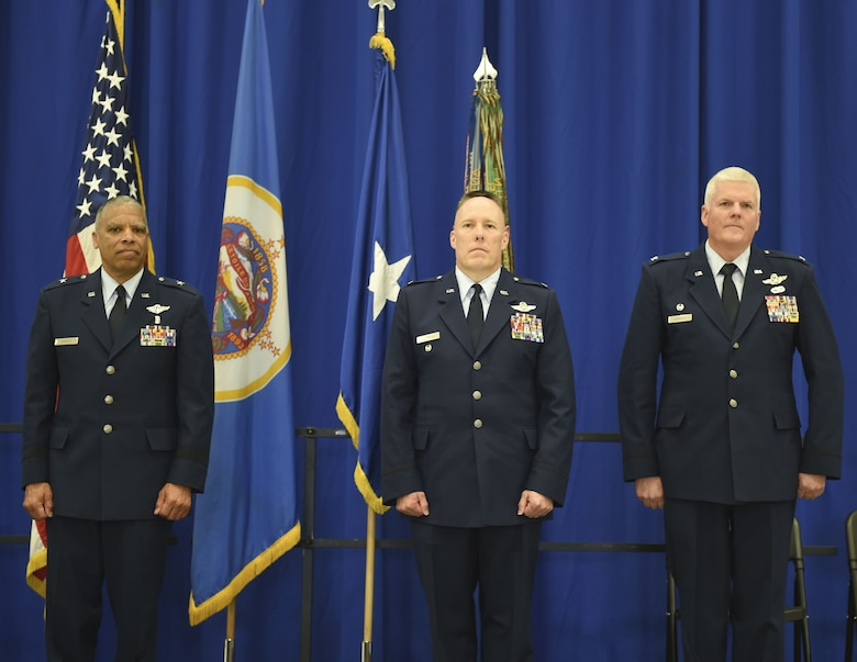 U.S. Air Force Col. Daniel Gabrielli, right, receives command of the 133rd Airlift Wing from Brig. Gen. David Hamlar, Assistant General Air National Guard, in St. Paul, Minn., Apr. 16, 2016.