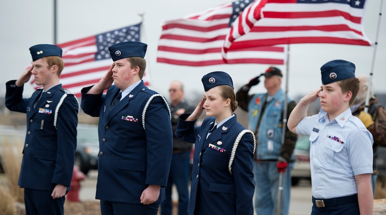 Family, friends and members of the U.S. military gather to celebrate the life of Elizabeth Strohfus in Fairbault, Minn., Mar. 15, 2016.