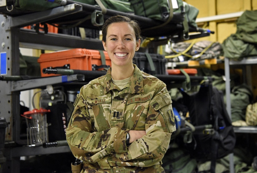 Capt. Asha Wyatt, 455th Expeditionary Aeromedical Evacuation Squadron aeromedical evacuation operations officer and flight nurse, poses for a photo Dec. 28, 2017 at Bagram Airfield, Afghanistan.