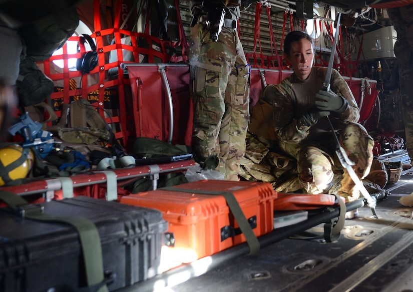 Capt. Asha Wyatt, 455th Expeditionary Aeromedical Evacuation Squadron aeromedical evacuation operations officer and flight nurse, configures AE equipment Dec. 28, 2017 at Bagram Airfield, Afghanistan.