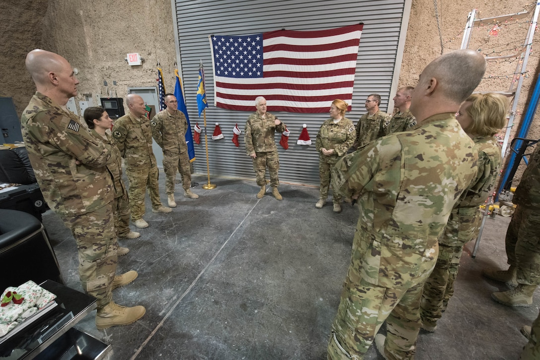 Lt. Gen. L. Scott Rice, director of the Air National Guard, speaks to members from the 379th Expeditionary Aeromedical Evacuation Squadron at Al Udeid Air Base, Qatar, Dec. 24, 2017. Rice visited deployed Air National Guardsmen at AUAB during a trip to the U.S. Central Command area of responsibility. (U.S. Air National Guard photo by Master Sgt. Phil Speck)
