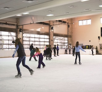 The ice rink in the Jon and Ruth Ann Wefald Pavilion at 1101 Fremont St., Manhattan, is the nearest man-made rink in the area. It costs $3 to skate and $3 to rent a pair of skates.
