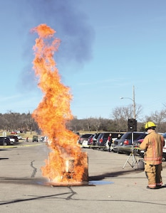 Fire Station 2 and Fort Riley Fire and Emergency Services Headquarters blow up a frozen turkey Dec. 2 at the Christkindl Holiday Craft Market. The demonstration shows what could happen if the turkey is not properly thawed before frying. FRFES also educated the crowd on what to do if faced with a grease fire.