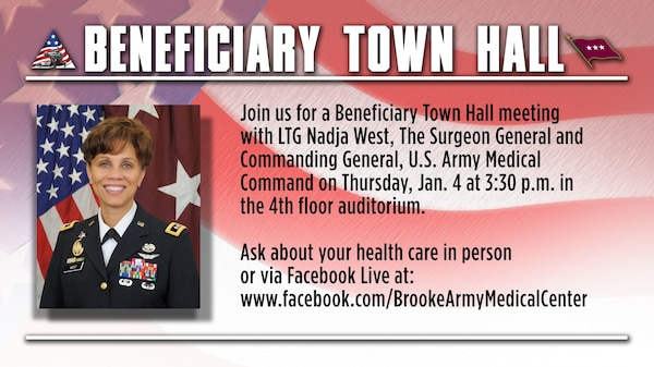 Lt. Gen. Nadja West, Army Surgeon General, holds a beneficiary town hall at 3:30 p.m. Jan. 4 at the fourth-floor auditorium at Brooke Army Medical Center at Joint Base San Antonio-Fort Sam Houston.