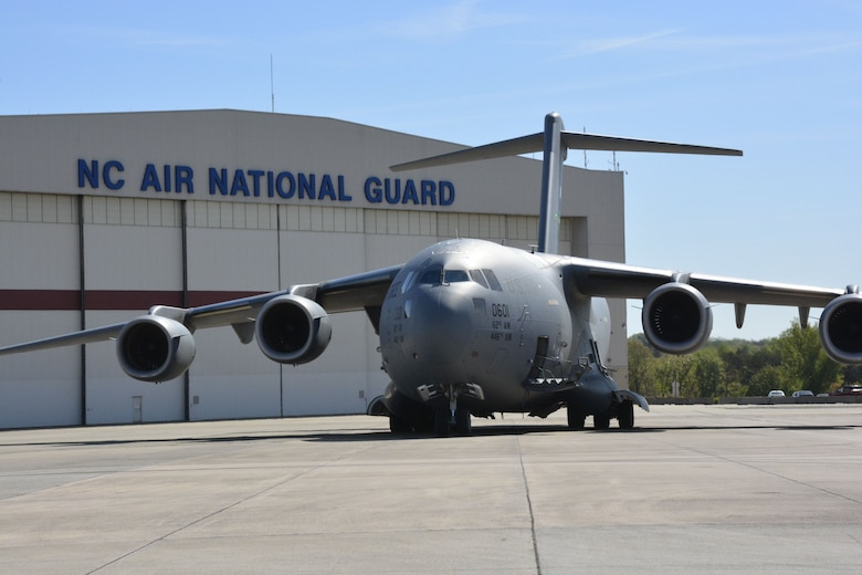 Image of a C-17 Globemaster III Aircraft on the flightline of the North Carolina Air National Guard Base in Charlotte N.C.