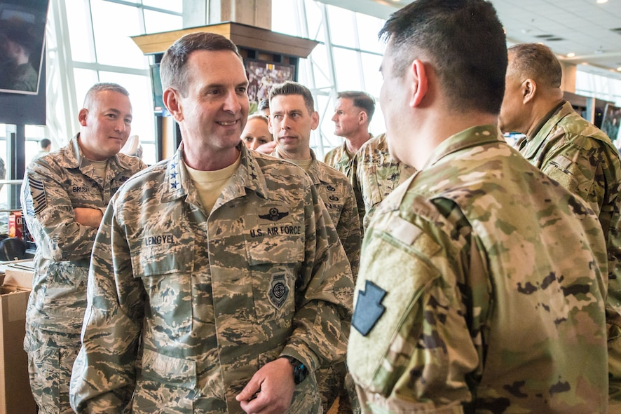 U.S. Air Force General Joseph L. Lengyel, Chief of the National Guard Bureau and member of the Joints Chiefs of Staff, visits with Soldiers and Airmen who are staying at FedExField in support of the 58th Presidential Inauguration, in Washington D.C., Jan. 19, 2017. 3,500 Guardsmen stayed at FedExField while supporting the 58th Presidential Inauguration where Donald J. Trump will be sworn in as the 45th President of the United States. 7,500 National Guardsmen from 44 states, three territories and the District of Columbia assigned to Joint Task Force D.C. are to provide traffic management, crowd management, security and logistics support during the inauguration period. (National Guard photo by Staff Sgt. Patrick P. Evenson, JTF-DC.)