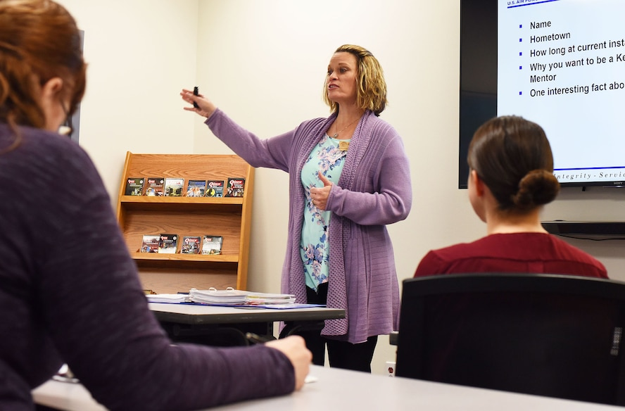 As the key spouse group coordinator, Dawn Beal conducts orientation sessions. She begins the session with an icebreaker for volunteers Dec. 28, 2017, at the Airman and Family Readiness Center, Malmstrom Air Force Base, Mont.