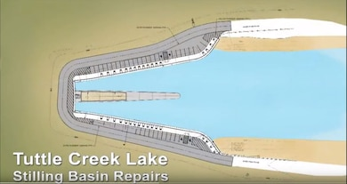 This graphic represents our most recent efforts to meet current dam safety requirements with the Stilling Basin Rehabilitation Construction Project at Tuttle Creek Dam in Manhattan, Kansas. The road over the dam will close on February 21, 2018 until repairs are complete.
