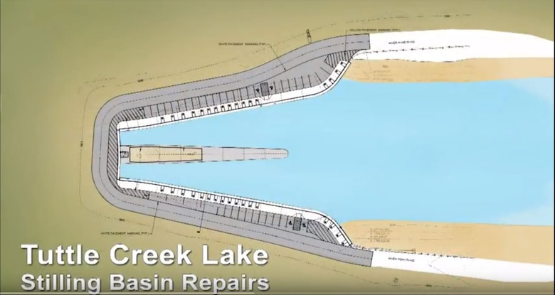 This video explains our most recent efforts to meet current dam safety requirements with the Stilling Basin Rehabilitation Construction Project at Tuttle Creek Dam in Manhattan, Kansas. This project focuses on the stilling basin, located on the west end, below the dam. We will be solving three problems at the basin: 1) sinkholes, 2) wall stability, and 3) deteriorating concrete.