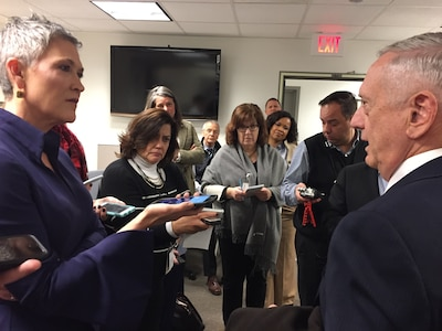 Defense Secretary James N. Mattis speaks with reporters at the Pentagon during an impromptu visit to the press area, Jan. 4, 2018.