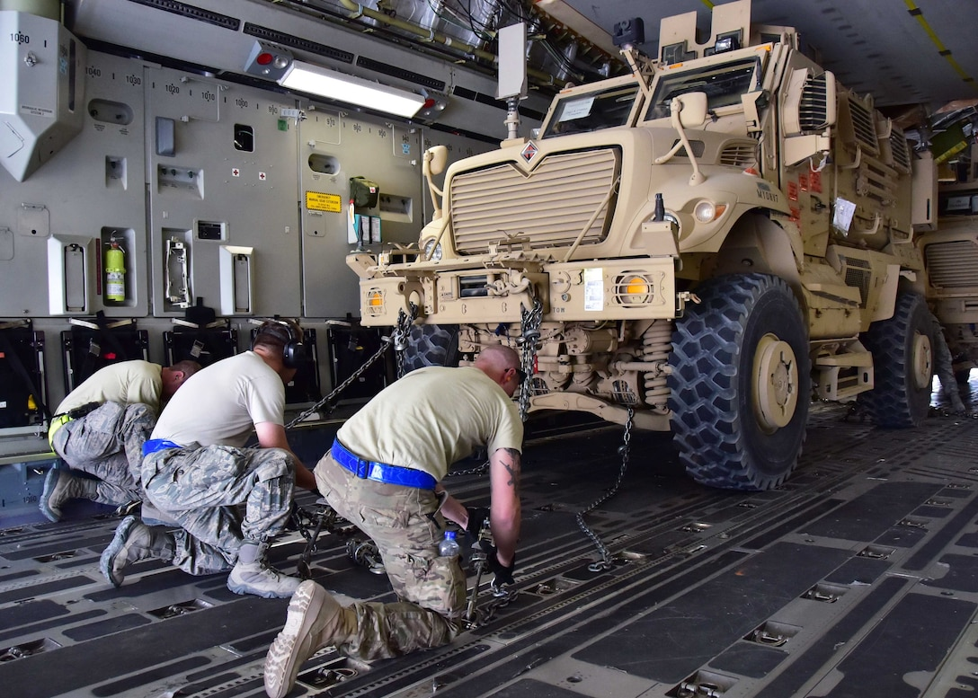 The process that the 386th Expeditionary Logistics Readiness Squadron goes through to send MRAP vehicles throughout the area of responsibility is designed to ensure the vehicle makes its destination and operates properly when it gets there.
