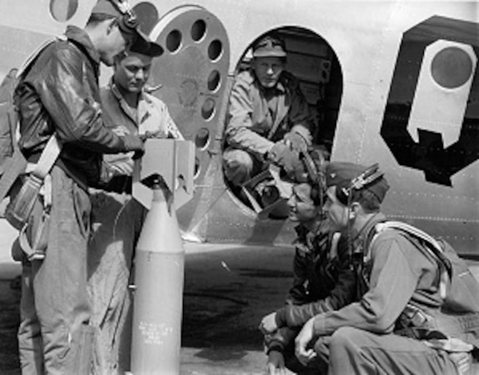 Trainees preparing for a bombing competition at Kirtland Air Force Base.