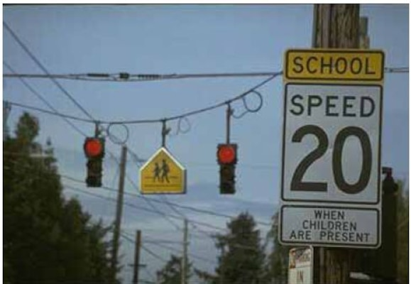 Vehicle drivers must be observant and obey all speed limits, traffic signs, crossing guards, and other signals including those on school transport vehicles to promote safety within a school or child safety zone.