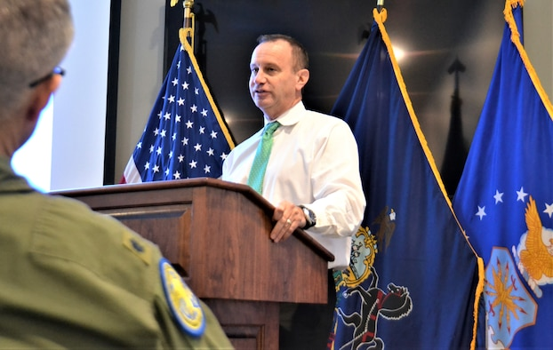 Dr. Richard E. Friedenheim, Abington Pulmonary and Critical Care Associates Sleep Disorder Center medical director, speaks about sleep disorders to an audience composed predominately of 111th Operations Group members, Dec. 12, 2017, Horsham Air Guard Station, Pa. Mission requirements of 111th OG members often result in operating on a shift-work schedule, which may potentially lead to sleep disorders. (U.S. Air National Guard photo by Tech. Sgt. Andria Allmond)