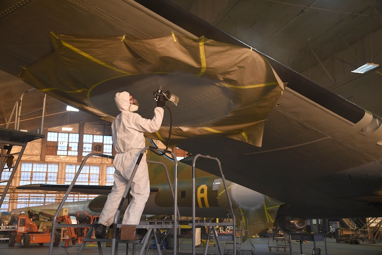 DAYTON, Ohio (12/06/2017) -- National Museum of the U.S. Air Force restoration crews continue the painting process on the Boeing B-17F Memphis Belle™. Plans call for the aircraft to be placed on permanent public display in the WWII Gallery here at the National Museum of the U.S. Air Force on May 17, 2018. (U.S. Air Force photo by Ken LaRock)