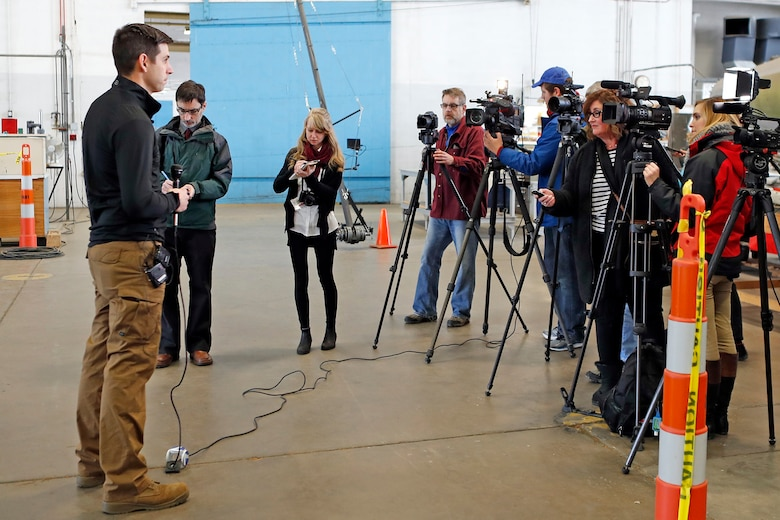 DAYTON, Ohio (01/04/2018) -- National Museum of the U.S. Air Force restoration specialist Casey Simmons speaks with the media about the Boeing B-17F Memphis Belle™. Plans call for the aircraft to be placed on permanent public display in the WWII Gallery here at the National Museum of the U.S. Air Force on May 17, 2018. (U.S. Air Force photo by Don Popp)