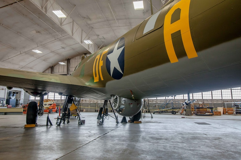 DAYTON, Ohio (01/04/2018) -- National Museum of the U.S. Air Force restoration crews installing the final control surfaces on the Boeing B-17F Memphis Belle™. Plans call for the aircraft to be placed on permanent public display in the WWII Gallery here at the National Museum of the U.S. Air Force on May 17, 2018. (U.S. Air Force photo by Ernie Muller)