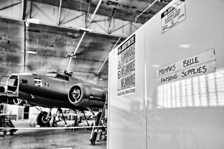 DAYTON, Ohio (01/04/2018) -- A view of the Boeing B-17F Memphis Belle™ in the museum's restoration hangar. Plans call for the aircraft to be placed on permanent public display in the WWII Gallery here at the National Museum of the U.S. Air Force on May 17, 2018. (U.S. Air Force photo by Ernie Muller)