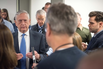 Defense Secretary James N. Mattis speaks with reporters.