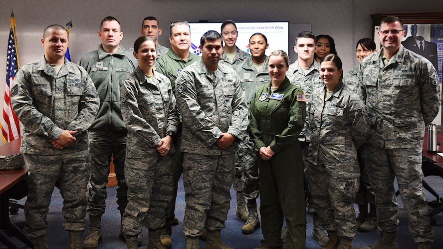 At right, Command Chief Master Sgt. Chad Welch, the highest ranking enlisted member in the 932nd Airlift Wing, welcomes the newest members of his unit to the Unit Training Assembly weekend.  He spoke about the various missions and opportunities throughout the Illinois unit during his portion of the January 6, 2017, special  newcomer's briefing at Scott Air Force Base, Ill.  (U.S. Air Force photo by Lt. Col. Stan Paregien)