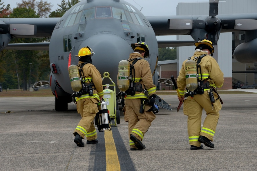 The 103rd Airlift Wing conducted a Major Accident Response Exercise October 15, 2017, to test the unit's emergency responsiveness.