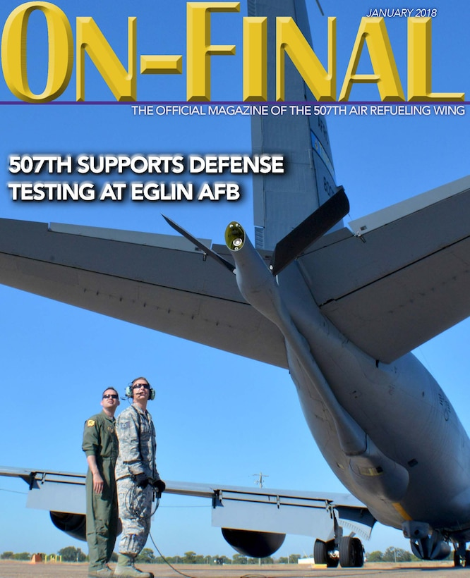The January 2018 cover of the On-final, the official magazine of the 507th Air Refueling Wing located at Tinker Air Force Base, Okla. (U.S. Air Force image/Tech. Sgt. Samantha Mathison)