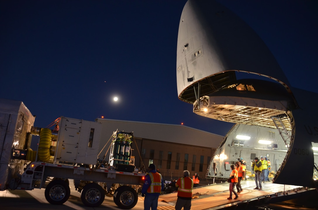 A December 2017 Total Force mission transports a weather satellite from Colorado to Florida.