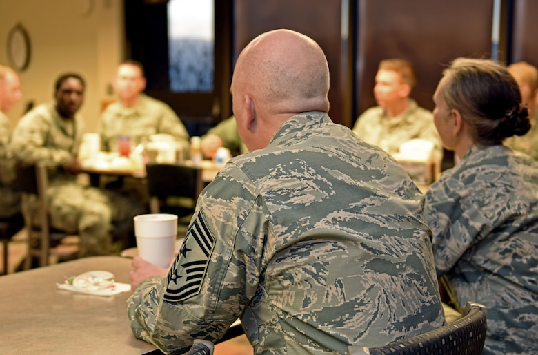 Col. Traci Kueker-Murphy, 310th Space Wing commander, and Command Chief Master Sgt. Todd Scott met with Reserve Citizen Airmen, ranked E-1 through E-4, to discuss Air Force Reserve policy changes and answer any questions the Airmen might have on Sunday, Jan. 7, 2018.