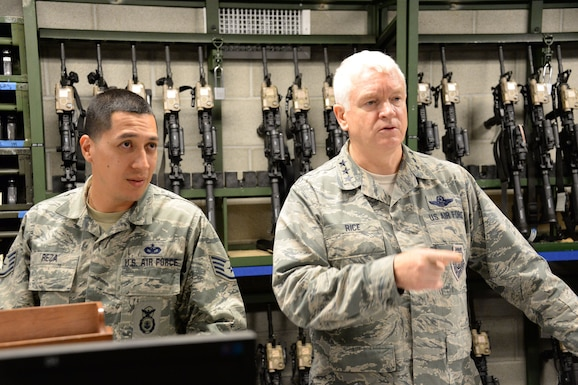 Lt. Gen. L. Scott Rice, the Director of the Air National Guard, tours the 144th Security Forces weapons vault and meets with members of the Security Forces team.