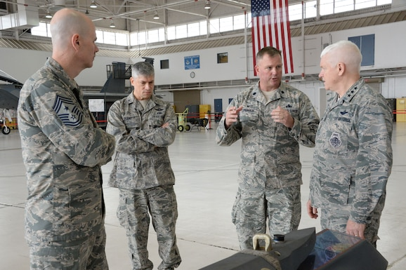 Jan. 7, 2018 Chief Master Sgt. Ronald C. Anderson, the Command Chief Master Sgt. of the Air National Guard, Brig. Gen. Jeffrey Burkett, the Director of Logistics, or A4, and Lt. Gen. L. Scott Rice, the Director of the Air National Guard, receive a briefing from Lt. Col. John Lundholm