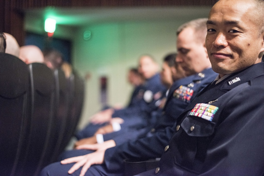 apan Air Self-Defense Force Tech. Sgt. Masaaki Hayakawa, 701st Squadron, Special Airlift Group, poses for a photo alongside his class after the NCO Academy graduation Dec. 21, 2017, at Kadena Air Base, Japan.