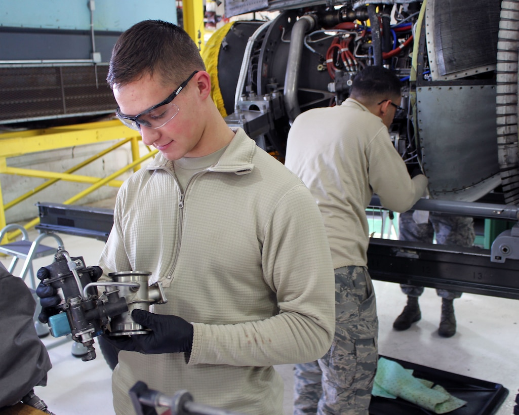 Airman 1st Class Jeremy Short and Airman 1st Class Austin Bowen work on engine maintenance at Selfridge Air National Guard Base, Mich., Jan. 6, 2017. The Airmen are both aerospace propulsion technicians in the 127th Aircraft Maintenance Squadron, 127th Wing here.