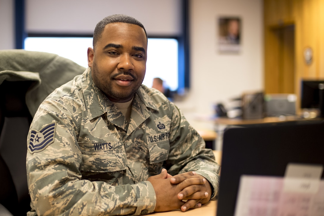 U.S. Air Force Tech. Sgt. Rashid Watts, 37th Airlift Squadron command support staff, said his New Year's resolution for 2018 is to make a new military friend every month and to visit at least 10 countries by the end of the year. (U.S. Air Force photo by Senior Airman Devin Boyer)