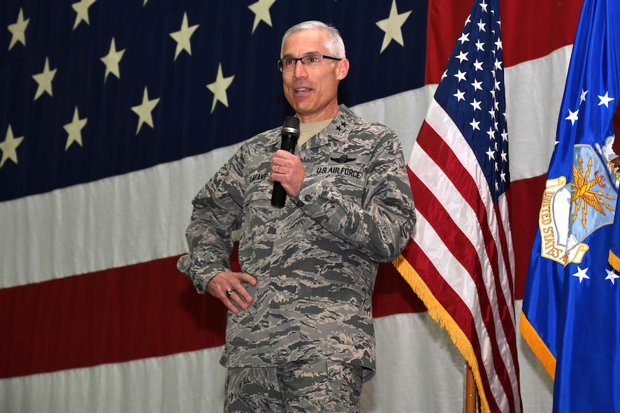 Maj. Gen. Craig L. La Fave, 22nd Air Force commander, speaks to the 94th Airlift Wing before passing the 94th AW guidon to Brig. Gen. Richard Kemble during an assumption-of-command ceremony at Dobbins Air Reserve Base, Ga., Jan. 6, 2018. Kemble most recently held the position of 22nd AF vice commander. (U.S. Air Force photo by SrA Joshua Kincaid)