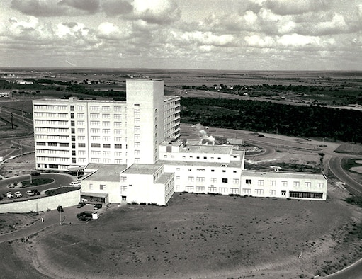 Sixty years ago, in November 1957, Lackland Air Force Base dedicated its new, nine-story, 500-bed hospital. At the time, it was the largest hospital in the Air Force. This was the first major phase of construction completed, and would be followed by successive expansions in 1961 and 1963. The hospital was replaced by a new facility in 2017, and the original is scheduled to be demolished over the next several years. (U.S. Air Force photo by Staff Sgt. Robert Barnett).