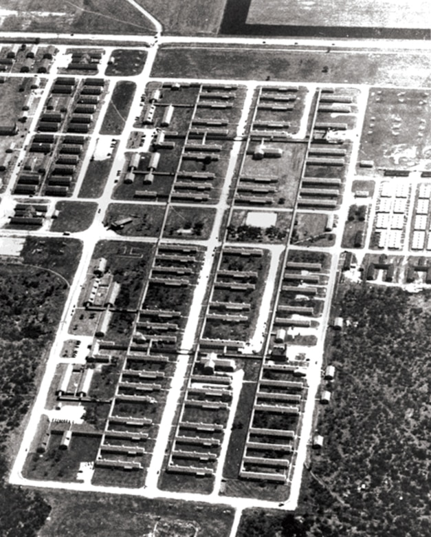The 3700th USAF Hospital, Lackland AFB, TX, seen from the air, sometime prior to construction of Wilford Hall Medical Center in 1957. S.W. Military Drive runs left to right at the top of the photo. One hundred and thirty-eight buildings comprised the sprawling facility. (Courtesy photo)