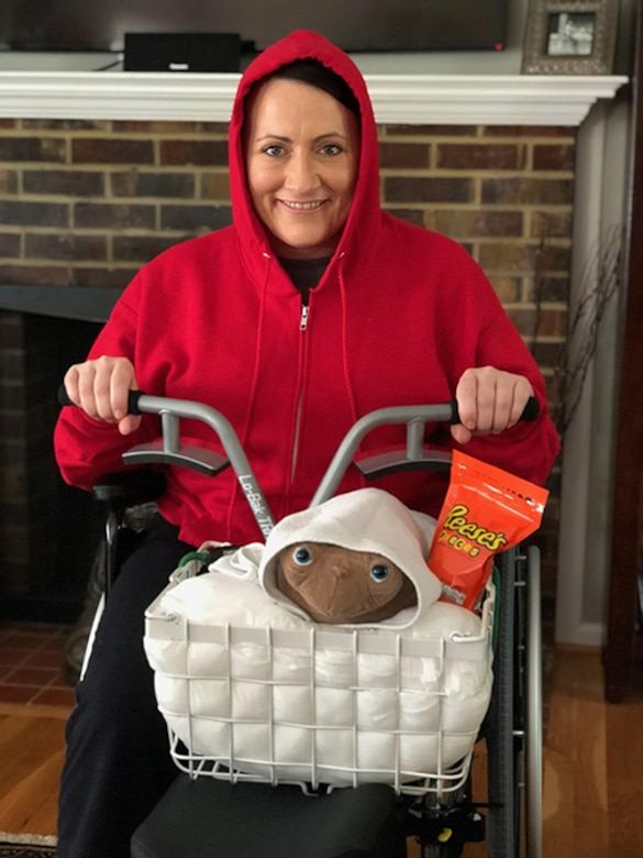 """For Halloween, Maj. Stephanie Proellochs dresses up as the familiar characters from the movie, """"E.T."""" Proellochs often uses humor as she embraces her new life with a prosthesis. (Courtesy Photo)"""