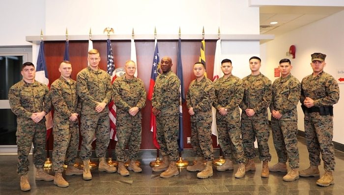 Detachment T'bilisi, Georgia with the CMC/SMMC from left to right: Sgt Andres Hernandez, Sgt Tim Schmude, Cpl Matthew Abbott, CMC, SMMC, GySgt Tim Trevino, Cpl Matthew Flores, Cpl Bryan Montalvo, Cpl Kevin Gonzalez, and Sgt Victor PinedaFuentes (A/).  General Neller and SgtMaj Green visited Marine Security Guard Detachment T'bilisi, Georgia on Christmas Day.  The Marines engaged in a Q&A session with the CMC about upcoming policy changes to the Marine Security Guard program and about possible future operations the Marine Corps may be involved in.